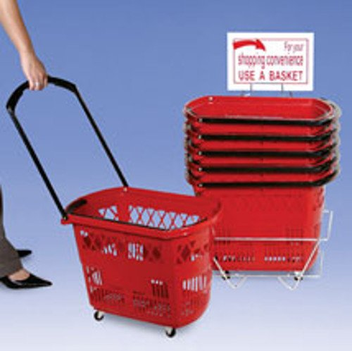New Retail Red Roller Plastic Shopping Baskets 13