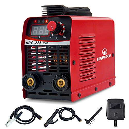 HAVADOU ARC MMA 225A handheld small electric welding machine Arc welding machine IGBT digital display LCD 110V hot start welding machine, with electrode holder, crimping tool, electric brush