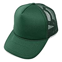 DALIX Plain Trucker Hat Mesh Cap in Dark Green