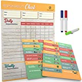 Magnetic Sticker Reward Responsibility Chore Chart for Multiple Kids. Behavior at Home Calendar, Dry Erase Family Planner with Weekly Chores. Perfect Schedule Board for Toddler to Teen.