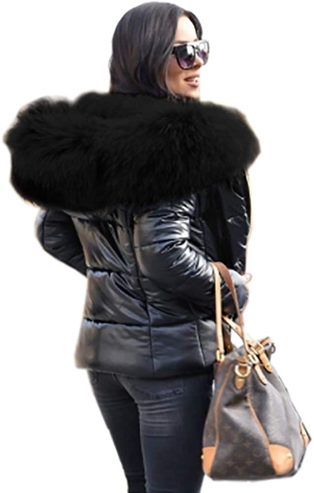 Credence Discount mail order Aofur Womens Hooded Black Parka Warm Outd Winter Lining Fur Coat