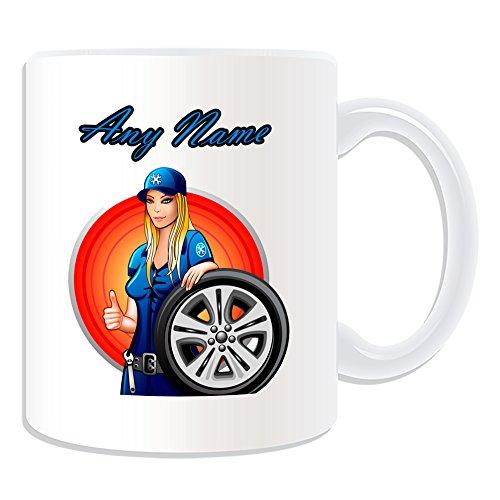 Personalisierter Geschenk-Hot Mechaniker-Girl Kaffeebecher (Sexy Lady