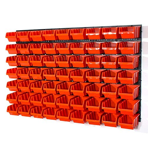 63 Stapelboxen Rot mit wandregal 120 x 80 cm | boxen lager wandplatten wandpaneel werkstatt garage
