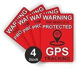 GPS Tracking Aufkleber - Rot - Glänzend - 60 x 40 mm - Sticker für Fahrrad, Motorrad und Auto...