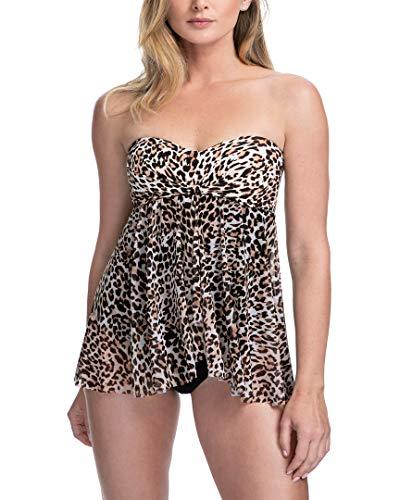 Profile by Gottex Women's Bandeau Flyaway One Piece Swimsuit, Wild Things Leopard, 6 -  E2662045-217-36