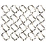 Ajusteur de boucle de ceinture Nuolux en D, métal rectangulaire -Lot de 20