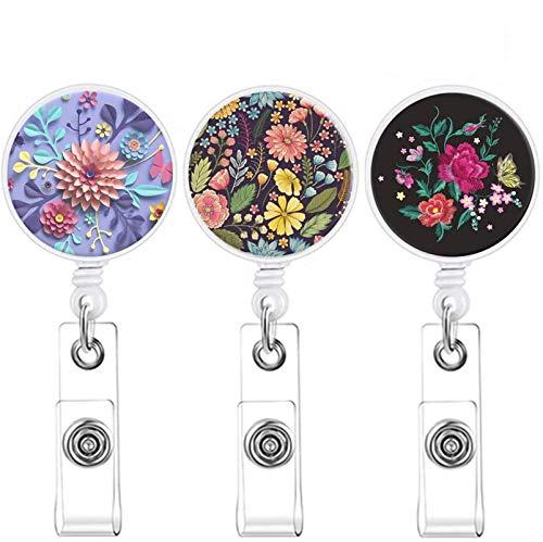 3 Pack Badge Reel Retractable Badge Holder with Alligator Clip ID Card Holder Nursing Badge Reel Holder (Color 3-1) (3 Pack Beautiful Flower)