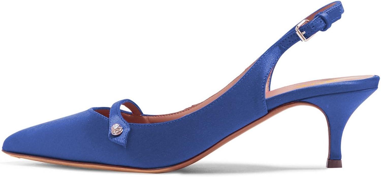 XYD Women Pointed Toe Mid Kitten Heel Slingback Sandal Pumps Slip On Patent Satin Dress shoes