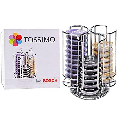 Original Bosch Tassimo 30 T-Disc Kapsel-Halter - Chrom-Refil-Turm (Rutschfest / 360º Base)