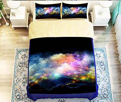N/S Duvet Cover Bedding Set 3D Colorful Clouds Bedding Sets with Pillow Cases Double Bed 3-Piece For adult children's bedroom 78.74 x78.74 inch