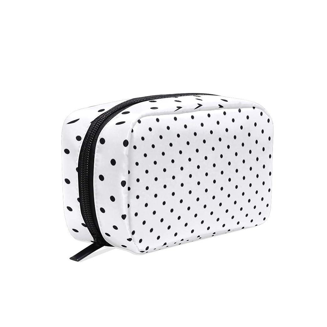 便宜ケーキ練る黒水玉 ポータブル トイレタリーバッグ 多機能化粧品バッグ 化粧 防水 旅行 たむろする 整理用バッグ女性女の子用 Black Polka Dot