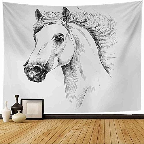 Tapiz de cabeza de caballo, perfil de libertad, semental, boceto, gráficos, animales de granja, vida silvestre, montar, naturaleza, tapiz de pared aislado, decoración del hogar para dormitorio