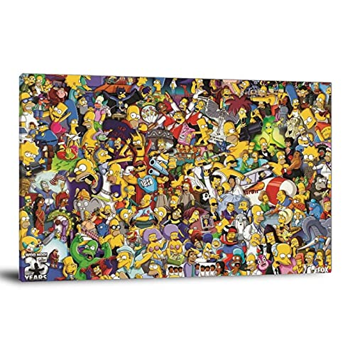 YuFeng_Art_Inn The Simpsons All Characters Cartoon Poster Decorative Painting Canvas Wall Art Living Room Posters Bedroom Painting 12×18inch(30×45cm)