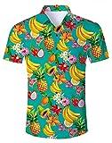 Camisa con Botones 3D para Hombre Camisa Colorida con Estampado Camisas Informales de Vacaciones para Hombre Camisa con Ajuste Regular de Verano con Estampado 3D Funky XXL