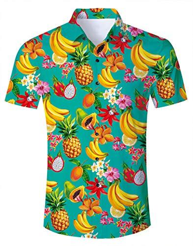 Camisa de Playa Camisa de Frutas para Hombre Camisa de Manga Corta de Ciervo de Frutas Hawaianas Camisas de Vestir Elegantes para Vacaciones en Hawaii Floral M