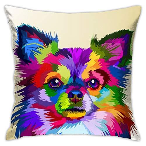 Funda de cojín de perro chihuahua colorido, funda de almohada, decoración del hogar, 45 x 45 cm