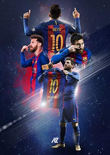 h-p Fútbol Barcelona Lionel Andres Messi Lienzo Arte Pintura Al Óleo Cartel...