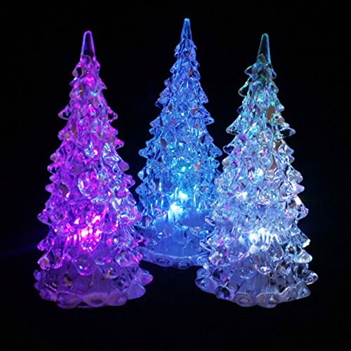 Brussels08 1Pc Color Changing Christmas Tree Decoration Night Light Lamp Xmas Gift Battery Operated Decorative Christmas Tree Tabletop Decor Lighting Light-up Glitter Holiday Tree M