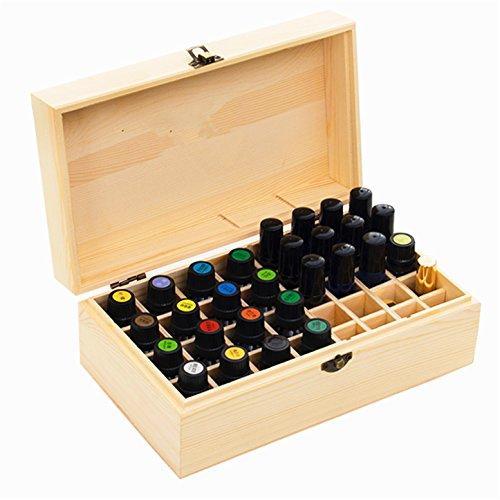 CHSEEA Ätherisches Öl Display Ständer Gestell Halter Organisator, 36 Löcher Holz Box Veranstalter Aufbewahrung Koffer Box für Nagellack, Duftöle, Ätherisches Öl, Stain und Lippenstift #2