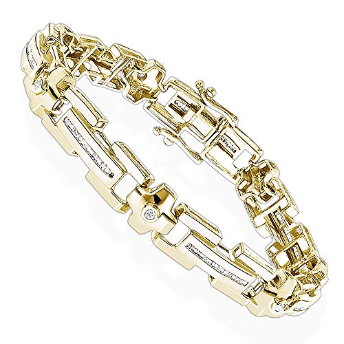 3.80Ctw ronde gesneden gesimuleerde diamant mannen Tennis armband 14K geel goud afwerking