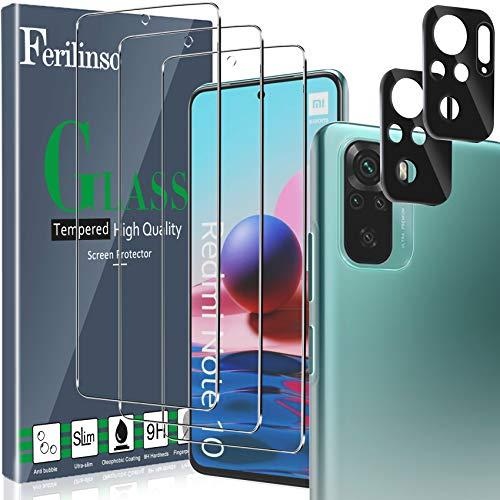 Ferilinso [5 Stück] 3 Stück Panzerglas Schutzfolie + 2 Stück Kamera Panzerglas Bildschirmschutzfolie für Xiaomi Redmi Note 10 4G/ Note 10S [Kompatibel mit Handy Hülle] [9H Festigkeit] [2.8D Rand]