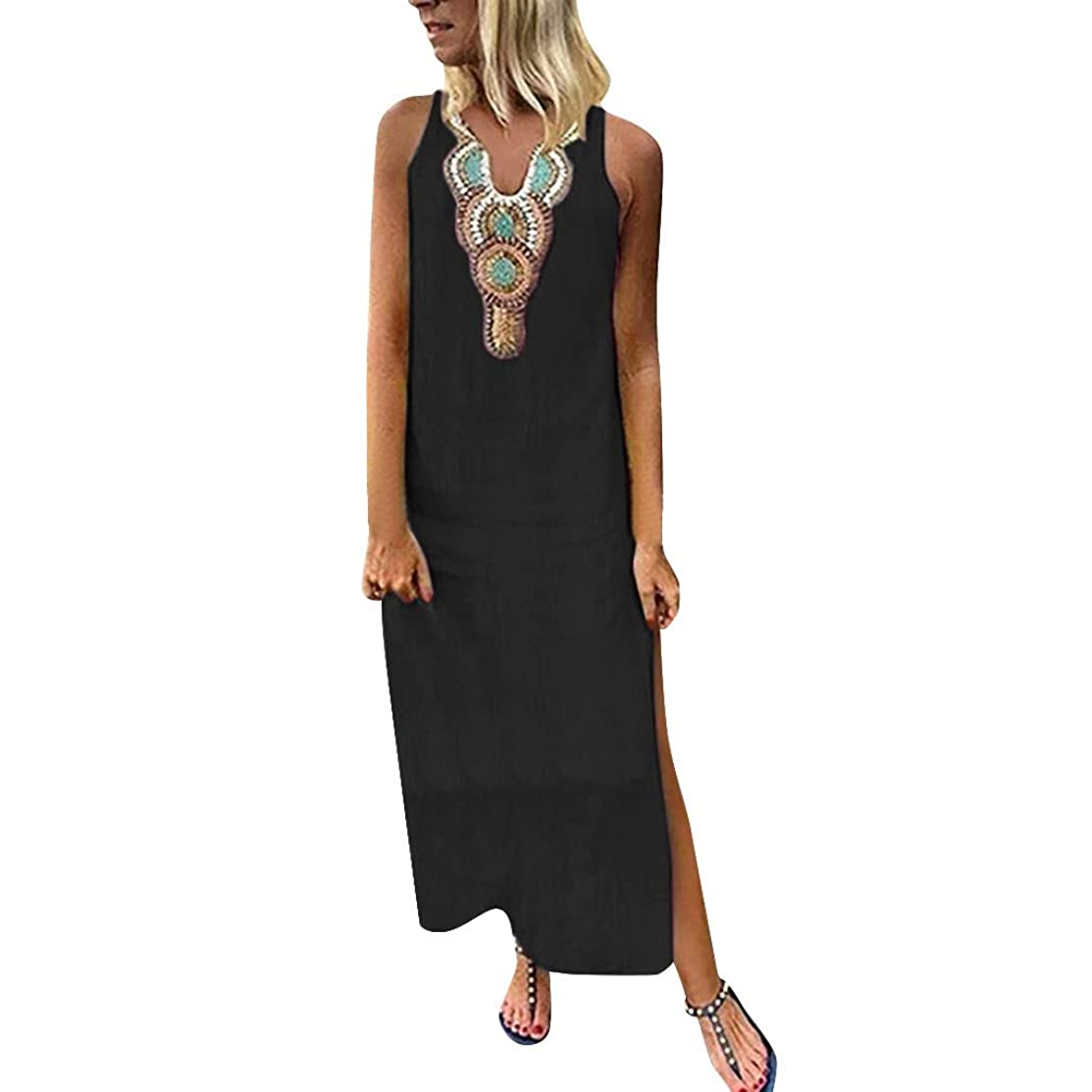 DAYPLAY women's dresses Summer Printed Sleeveless V-Neck Maxi Split Hem Baggy Kaftan Long Dress 2019 Sale