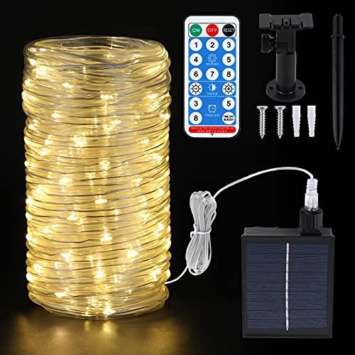 20m LED Schlauch Lichterkette Außen Solar , 200 LEDs Lichterschlauch IP65 Wasserfest mit Fernbedienung ,LED Schlauch Lichterkette Strombetrieben mit Fernbedienung für Garten Party,warmweiß