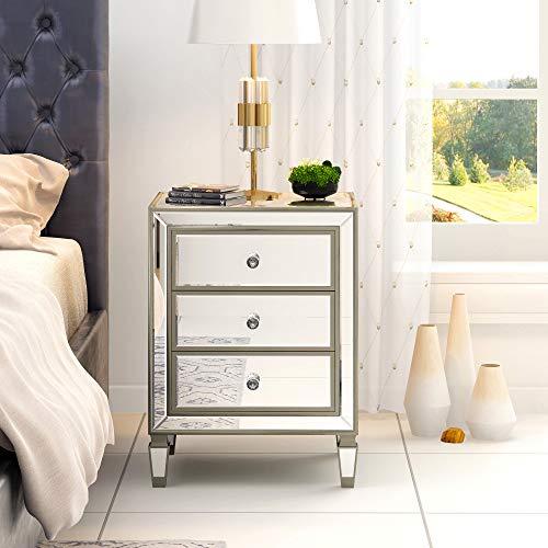 Nachttisch Spiegel Aufbewahrungsschrank aus Glas mit 3 Schubladen auf Wohnzimmer, Schlafzimmer, Büro, Badezimmer etc., 50 x 40 x 67 cm