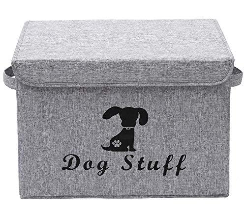 Morezi Großer Hundeabfalleimer, 43,2 x 30,5 cm, Leinen-Baumwoll-Mischgewebe, Spielzeugkorb mit Deckel, zusammenklappbar, für die Organisation von Hundespielzeug, Katzenspielzeug und Zubehör, Grau