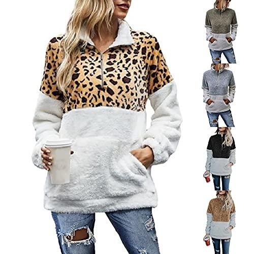 Hirolan Leopard Sweatshirt Damen Oversize PlüSch Tie-Dye Pullover Fronttasche ReißVerschluss Stehkragen Pullover Weiche Feel Langarm Casual Top