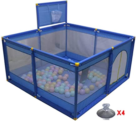 H aetn Playpens Foldable Portable Baby With Basketball Hoop Kids Play Pens Panel Boy Activity Center Home Indoor Outdoor  Color Blue