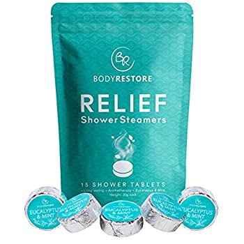 BodyRestore Shower Steamers  Pack of 15  Gifts for Women and Men - Eucalyptus & Peppermint Essential Oil Scented Aromatherapy Bath Bomb for Your Shower Nasal Congestion Relief Shower Tablets