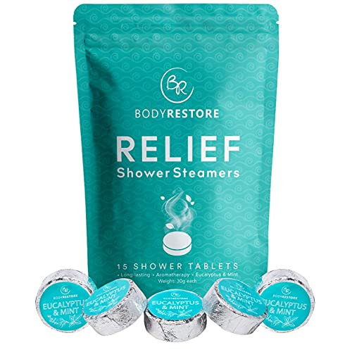 BodyRestore Shower Steamers (Pack of 15) Gifts for Women and Men - Eucalyptus & Peppermint Essential Oil Scented Aromatherapy Bath Bomb for Your Shower, Nasal Congestion Relief Shower Tablets