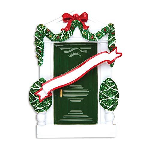Personalized Green Door Christmas Ornament for Tree 2018 - Garnished New Home - First Winter Family House-warming Elegant Holiday Mates Host Neighbor Lights Gift - Free Customization by Elves