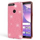 NALIA Handyhülle kompatibel mit Huawei Y7 2018, Glitzer Ultra-Slim Silikon-Hülle Back-Cover Schutzhülle, Glitter Sparkle Handytasche Bumper Dünnes Bling Strass Smartphone Etui, Farbe:Pink