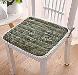 Juego de 4 cojines de asiento para interiores y exteriores, funda antideslizante, elegante cojín cuadrado para silla con lazos para cocina, hogar, oficina, jardín, 40 x 40 cm, verde