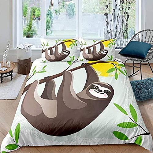 HUA JIE Junior Bed Duvet Set,Sloth Bedding Set Lovely Woodland Animal Duvet Cover For Kids Boys Girls Children Tree Branches Leaf Cartoon Style Brown Comforter Decorative Room