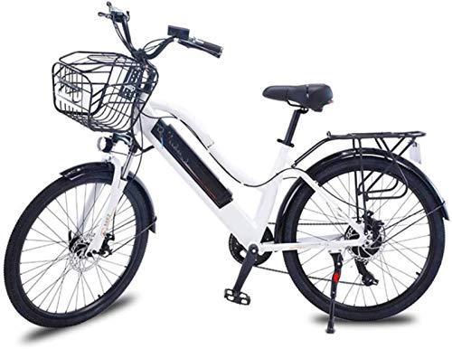 RDJM Bici electrica, 26 Pulgadas Bicicletas eléctricas, Bicicletas de Aluminio allo Bicicletas 36V10A Marco Boost Adulto Mujeres for los Deportes al Aire Libre Ciclismo, Blanca