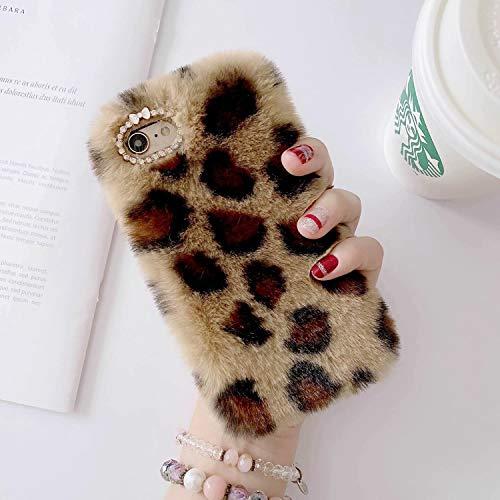 Miagon Pelz Hülle für Samsung Galaxy A30S,Glitzer Leopardenmuster Weich Warm Kunstpelz Plüsch Fluffy Flexibel Schutz Handytasche Case Cover,Braun