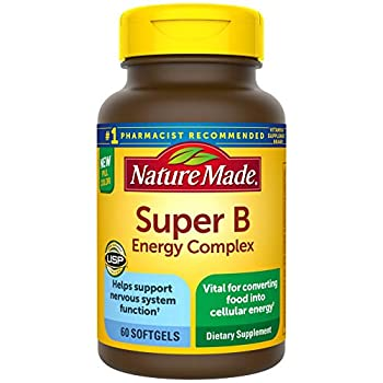 Nature Made Super B Energy Complex Dietary Supplement for Nervous System Support 60 Softgels 60 Day Supply