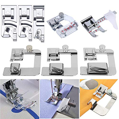 YEQIN Sewing Machine Feet w/3Pcs Rolled Hem Pressure Foot,3Pcs Narrow Rolled Hem Presser Feet & Adjustable Guide Presser Foot, Bias Binder Foot Compatible with Singer, Brother, Janome etc