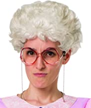 Pale Grey/White, Old Lady, Loose, Curly Short Costume Wig Wise Golden Granny, One Size