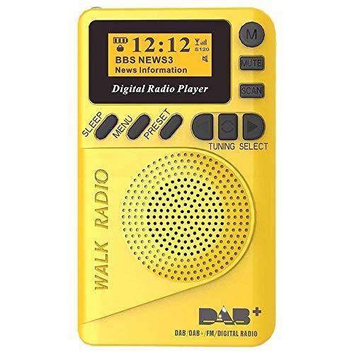 Fauge Pocket Radio Portable DAB Digital Radio Rechargeable FM Radio LCD Display Loudspeaker for Walk Run or Jogging