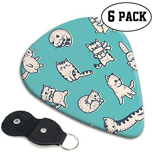 Gitaar Picks 6 stks, Leuke Kitties In Verschillende Geesten Slapen Speelse Babyish Kat Dier Illustratie.96mm
