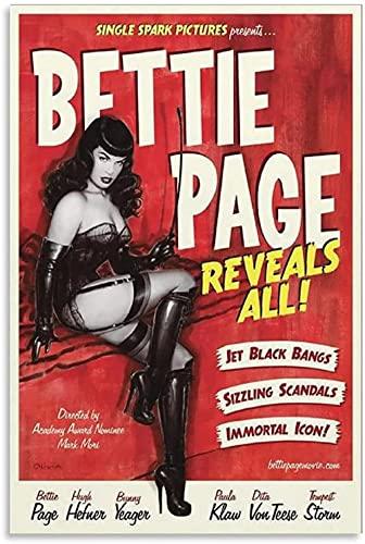 REGF Lienzos De Fotos 40x60cm Sin Marco Bettie Page Revela Todos los pósteres de DVD con Pintura Decorativa para Sala de Estar y Dormitorio