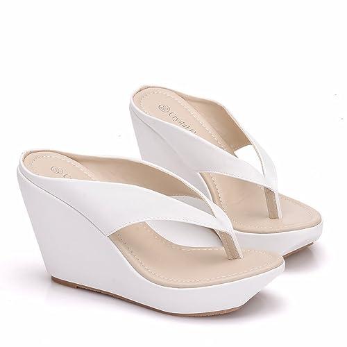 a39483ca4 Crystal Queen Women Beach Sandals Platform Wedges Sandals High Heels Wedges  Slippers Flip Flops White Flip