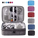 EXKOKORO Double Layers Electronics Organizer Bag, Protable Accessories Carrying Case Cable Organizer Bag Waterproof Cable Storage Bag for Charging Cable, Power Bank, Cellphone, USB and More(Black)