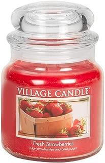 Village Candle Fresh Strawberries 16 oz Glass Jar Scented Candle, Medium
