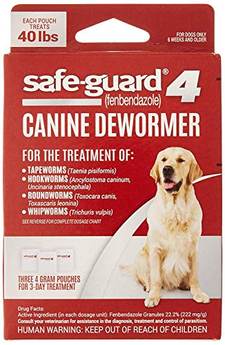 Excel 8in1 Safe-Guard Canine Dewormer for Large Dogs, 3 Day Treatment, Red, 40 lbs/pouch (J7164-1)
