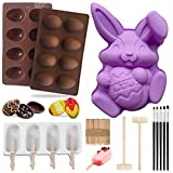 The Perfect Match for Easter: Popsicle Silicone Molds with 50 Wooden Sticks,Big Bunny Molds,Easter Eggs Silicone Mold,2 Mini Wooden Hammer,5 Cake Brushes.This perfect match can not only make Easter colored eggs, but also make colored popsicles to mee...